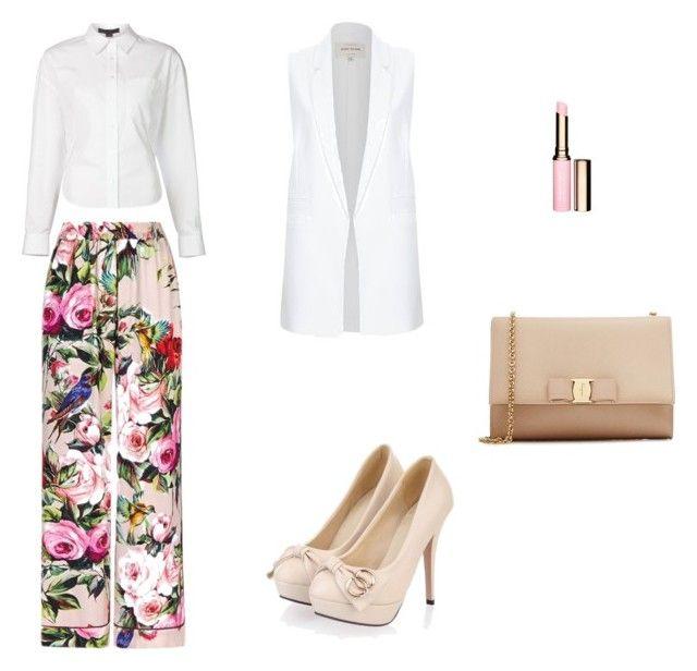 #Camisablanca #basica. #Pantalon tipo #patadeelefante con #estampado #floral. #Zapatos de #tacon #color #beige. #Bolso tipo #sobre beige. #Barradelabios tono #natural. #Americana #sinmangas color #blanco.