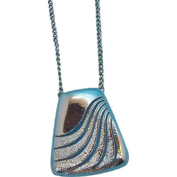 Retro Geometric Design Silvertone Metal Pendant Necklace. found at www.rubylane.com #vintagebeginshere