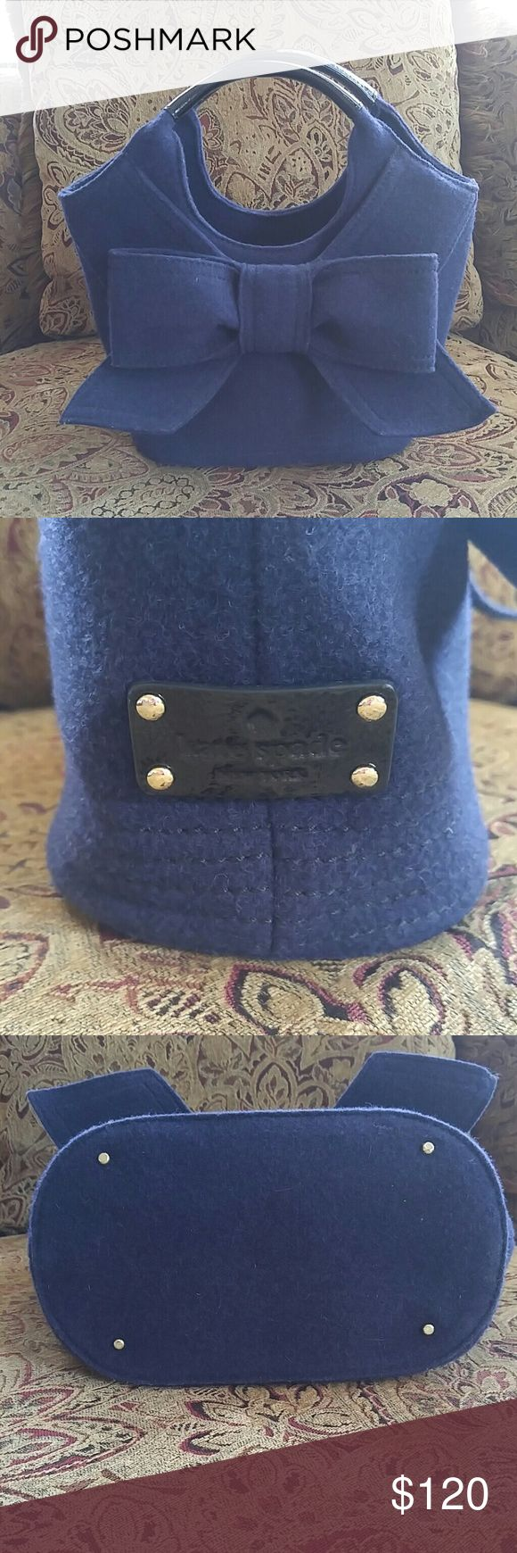 Kate Spate Handbag Wool handbag with patent handles.  Excellent condition.   Navy blue and black. kate spade Bags Totes