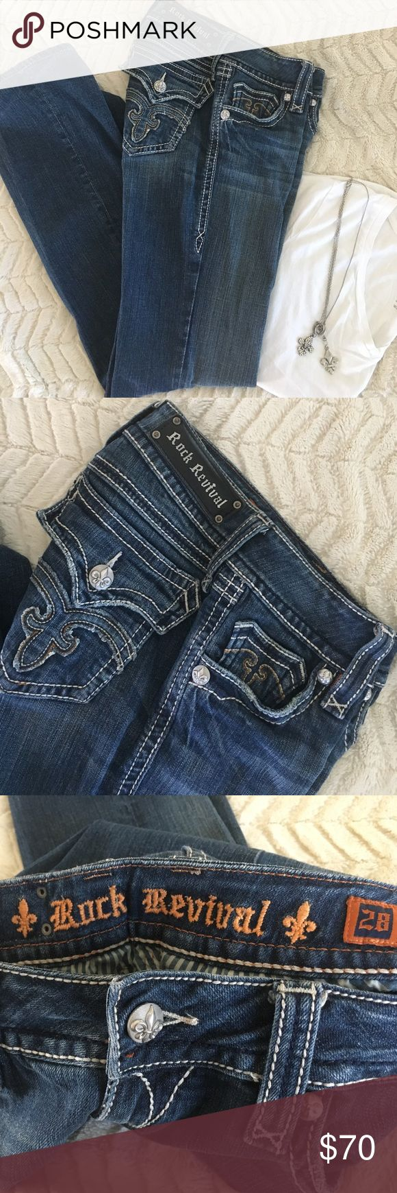 Rock Revival women's jeans Rock Revival women's jeans. Size 28 / 31 1/2 inseam. EUC. Front and back pockets and zipper fly. These are called Debbie boot. Slightly bootcut but not huge. Will ship next day. Rock Revival Jeans Boot Cut