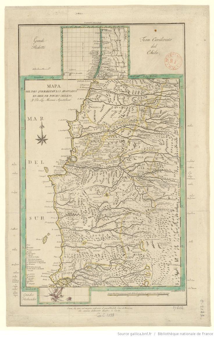 Mapa del pais que habitan los Araucanos en Chile, de Poncho chileno, y de las misiones apostolicas | Gallica