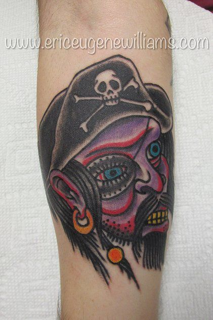 Tattoo by Eric Eugene Williams. Located in Pigeon Forge,TN @American Rebel Tattoo  american traditional tattoo pirate