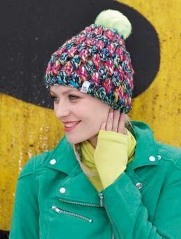 Gratisanleitung Häkelmütze. Farbenvielfalt und Glitzereffekt - damit kann diese Mütze aus Schachenmayr original Elements Mix punkten. Sorgt sie doch für Glanz und Glamour bei Ihren winterlichen Ausflügen. Ein interessantes Häkelmuster ist dazu noch das Tüpfelchen auf dem i.