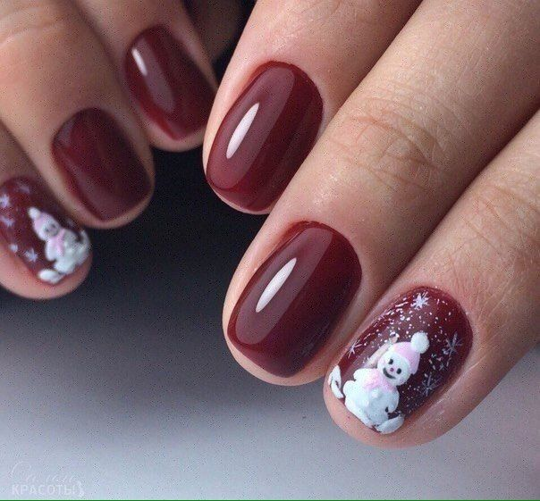 The 25 best maroon nail polish ideas on pinterest toe nail beautiful maroon nails christmas manicure on short nails maroon nails maroon nails by prinsesfo Images