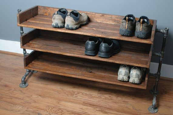 Handmade Reclaimed Wood Shoe Stand with Pipe Stand by ReformedWood