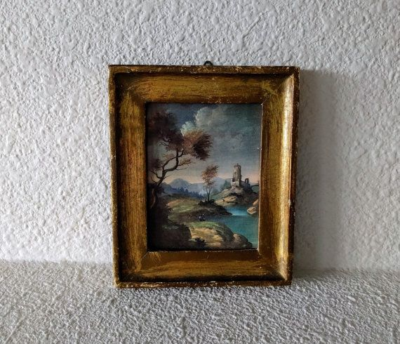 """Vintage Print, Francois Boucher, Small Landscape, Paesaggio, Florence, Italy, Distressed Gold Frame, 5"""" x 4 1/8"""", Sixties Print, Ca. 1960s"""