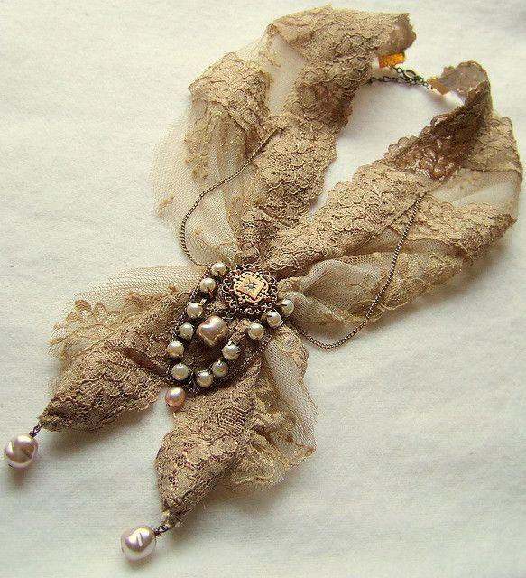 Vintage Lace And Ephemera Necklace