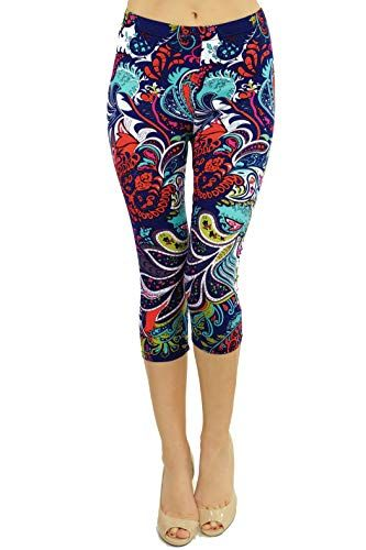 65a3310789cf1 VIV Collection Print Brushed Ultra Soft Cropped Capri Leggings Regular and  Plus (Sizes XS - 2XL) Listing 1 at Amazon Women's Clothing store: