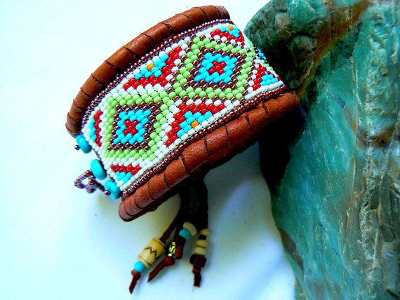 Native American Beadwork  Beaded Deerskin by TribalVibesLeather, $62.00