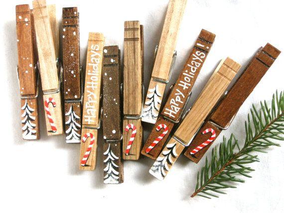 10 Natale molletta dipinta canne di caramella di legno e glitter alberi di Natale on Etsy, 20,57 €