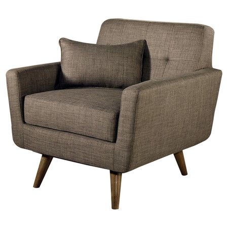 Midcentury-inspired arm chair with a hardwood frame, linen upholstery, and a low profile.  Product: ChairConstruction Mat...