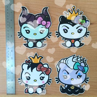 Villains Set: 1 Kitty Maleficent, 1 Kitty Evil Queen, 1 Kitty Red Queen, 1 Kitty Ursula - Sticker/Decals... Approximately 5.5x 5 inches each decal. Stick em' on your laptop, locker, car window etc..