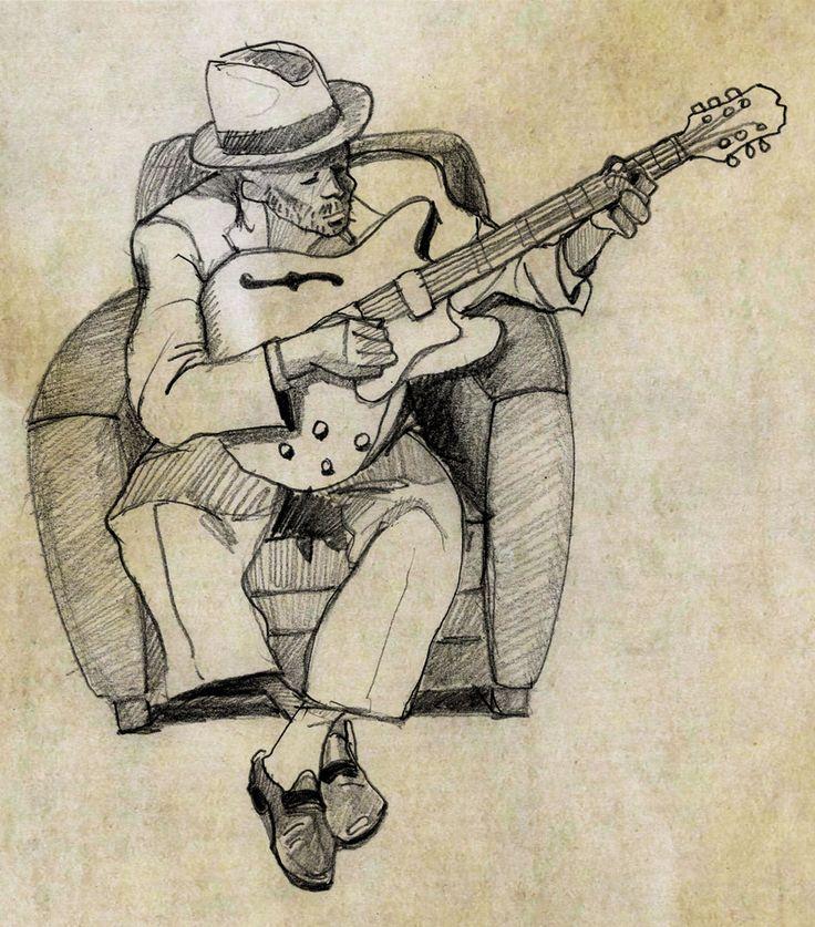 John Lee Hooker, dessin (crayon) ©Antoine Digout