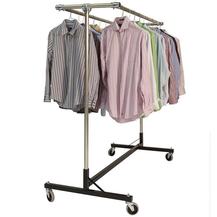 """1 5/16 outside diameter upright bars and side by side double hang rails. Grey non-marking soft rubber with TP center 4"""" casters. Made in the USA."""