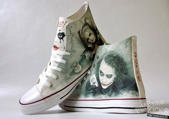 Joker and Harley inspired custom shoe decoration with your name in Joker's card…