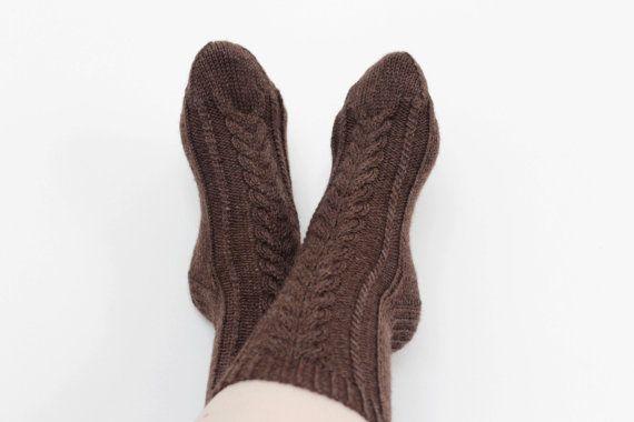 Hand knitted chocolate brown socks Wool rustic socks by Crafticum