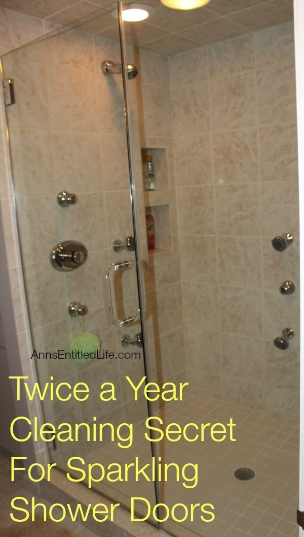 Check out this bathroom cleaning tip. Twice a Year Cleaning Secret For Sparkling Shower Doors. I can handle twice a year!
