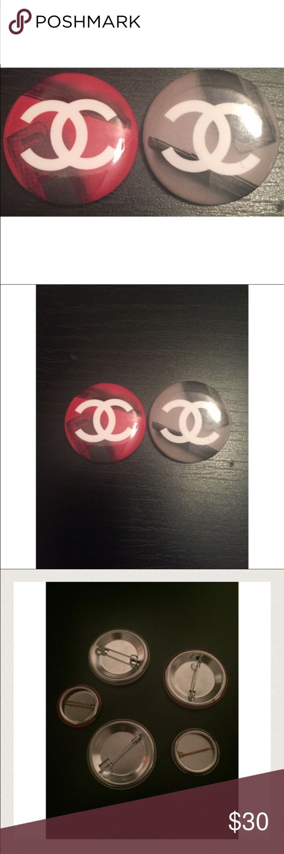 """Sale! Small """"CC"""" Chanel Limited Edition Pin This is a rare and limited edition 1"""" pin from the 2016 I Love Coco Chanel Oscar Party/Pop Up in Los Angeles. The item was specifically created for the event at Bar Marmont. I'm selling 2 red, 2 grey, 1 pink, and 1 gold. These are very chic pinned on a Chanel purse or jacket lapel. I've attached a large one to the chainlink strap on my vintage black quilted! CHANEL Accessories"""