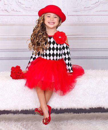 Black Diamond Top & Red Tutu Skirt - Toddler & Girls s