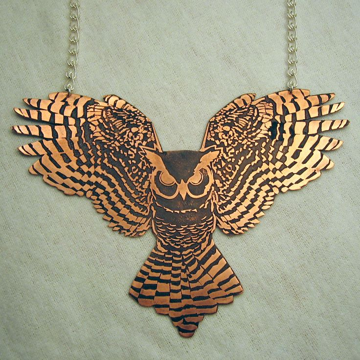 Copper Owl Necklace - The design is etched into the copper and then darkened with a patina. It is sealed with a translucent wax