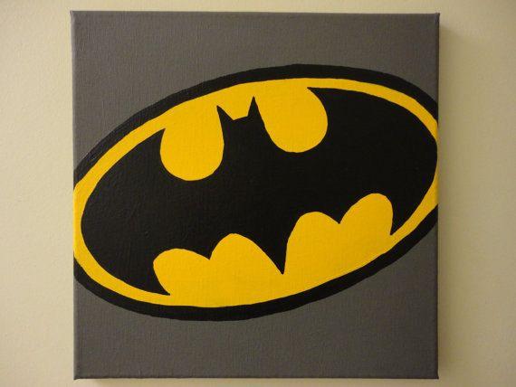 Classic Batman Logo (12x12) Painting via Etsy