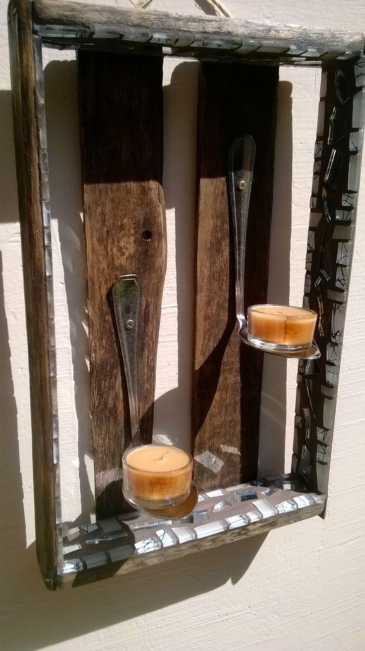 PEÇA ÚNICA Candelabro  rústico de espelho com mosaico de pastilha de vidro, feito com colher e caixa reciclada, incluso 6 velas (36,5cm x 23cm x 10cm aprox) Valor: R$140,00 + frete(ou retirar no local)