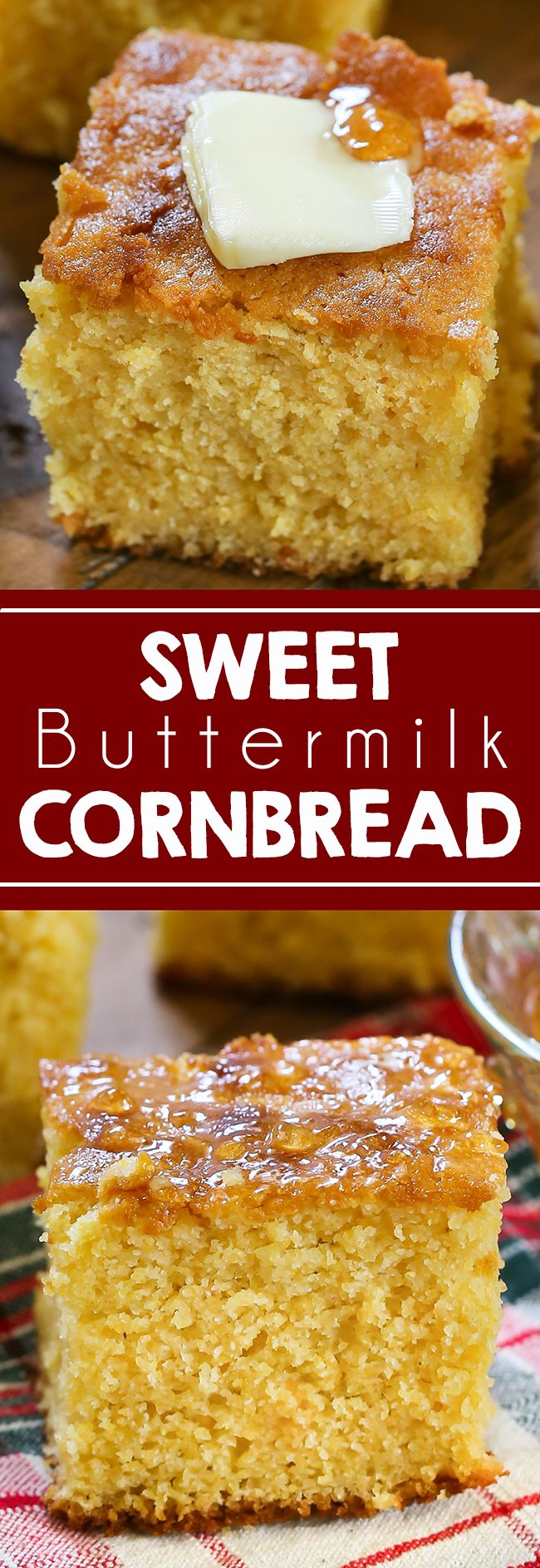This Sweet Buttermilk Cornbread is truly a southern staple that is great all winter and fall long! Serve for the holidays or with any winter dish. #cornbread #food #thanksgiving