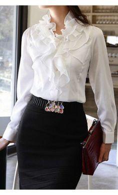 Details about Women elegant slim fit Beaded Collar ruffles OL Career ...