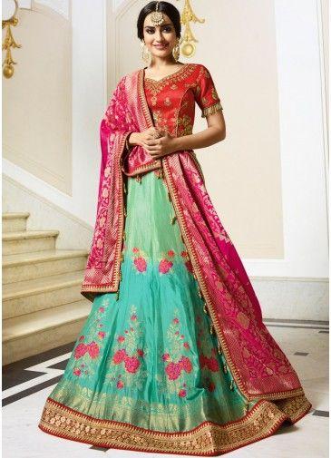 9833bc8f78 Green Shaded Pure Silk Lehenga Choli With Dupatta in 2019 | My ...