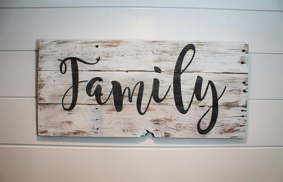 Family Wood Sign Pallet Sign Rustic Wood Sign White Wash Decor Wall Decor Barnwood Sign Farmhouse Style Pallet Signs Rustic Barn Wood Signs Family Wood Signs