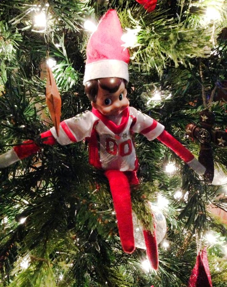 Mr Snowflake was hiding in the Christmas tree wearing his football jersey in anticipation of the Saints game tonight!