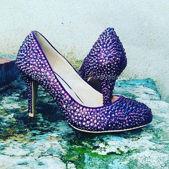 Chaussures de mariée violet de cristal, strass chaussures, pompes, talons, talons cristal violet, chaussures de mariage violet.