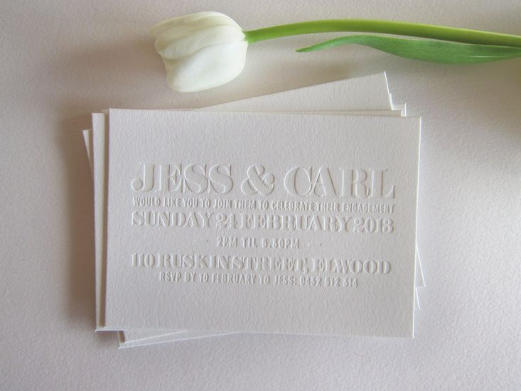 Blind embossed letterpressed invitations. EMPRESS - LETTERPRESS + DESIGN