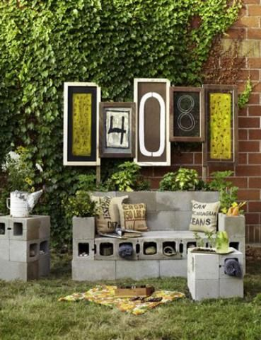 Build weather-proof outdoor couches, chairs, and end tables with cement blocks! | 10 clever ways to use cement blocks | Living the Country Life | http://www.livingthecountrylife.com/buildings-fences/outdoor-ideas/10-clever-ways-use-cement-blocks/