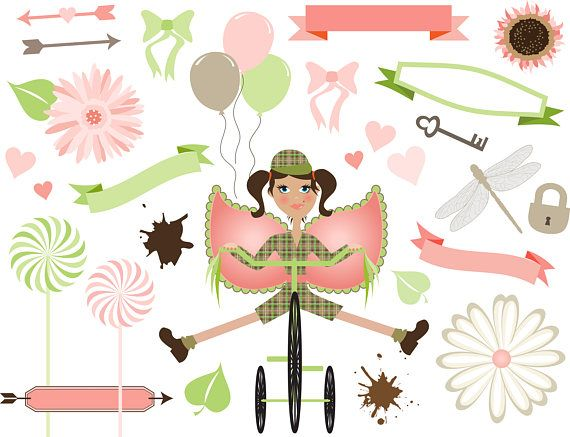 Bike Fairy Clipart Set Soft Pastels Digital Download girl
