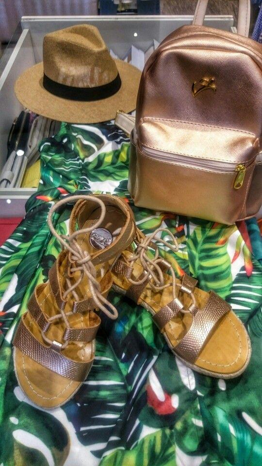 Gladiator sandals exe golden rose veta backpack panama hat