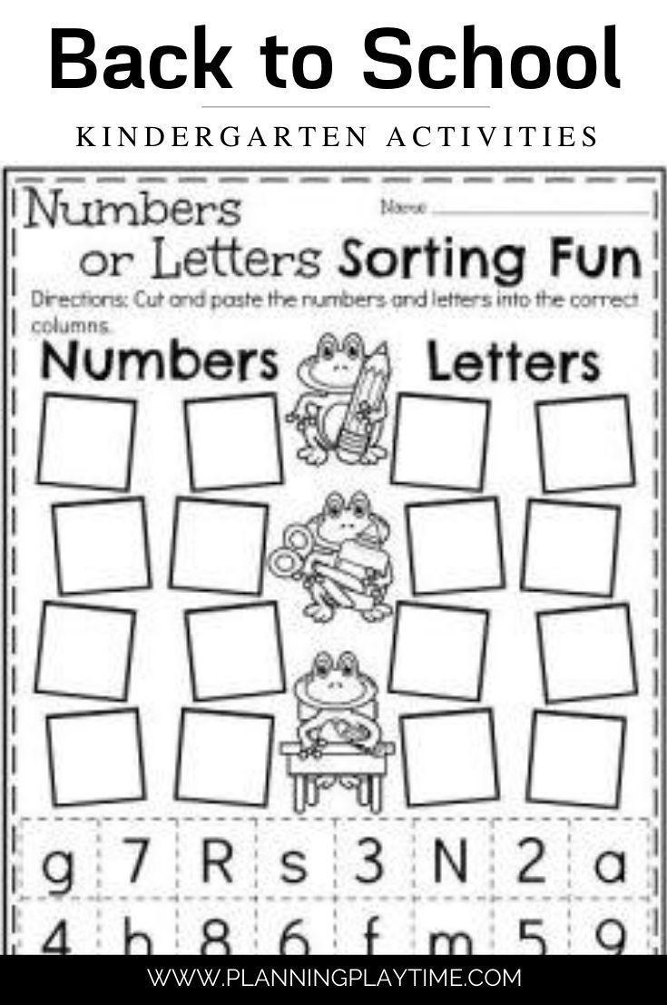 Numbers Vs Letters Sort Kindergarten Worksheets Letter Sort Letter Sorts Kindergarten