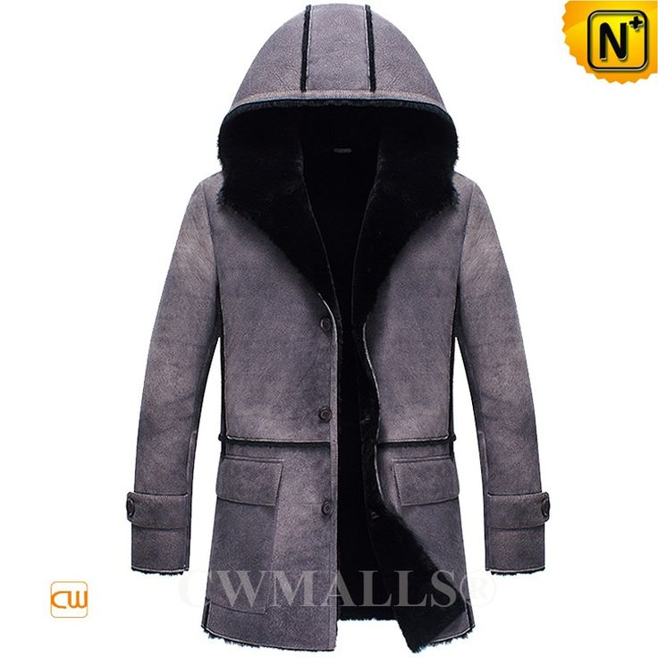 CWMALLS® Custom Vintage Shearling Sheepskin Coat with Hood CW836053 Vintage shearling coat with hood crafted from natural, premium sheepskin shearling material in grey color, distressed shearling hooded coat designed in warm hood, shearling trim, classic flap pockets, and cuff tabs, it is your best choice for cold winter.  www.cwmalls.com PayPal Available (Price: $1878.89) Email:sales@cwmalls.com