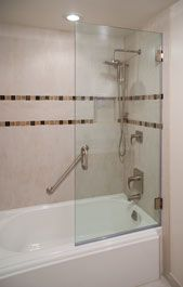 This Glass Shower Door Has Bathtub Screen Brushed Nickel Finish Clear Tubular Handle Zeus Style Full Back Hinge
