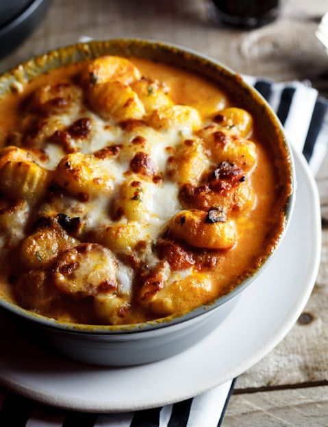 Get into the Fall season with baked gnocchi with bacon, tomato and mozzarella