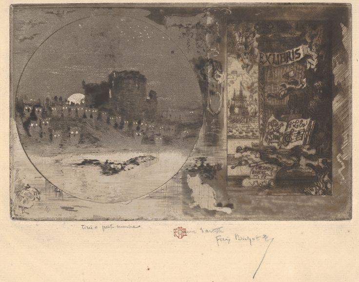 """Felix-Hilaire Buhot, """"The Castle of Owls"""",19th century."""