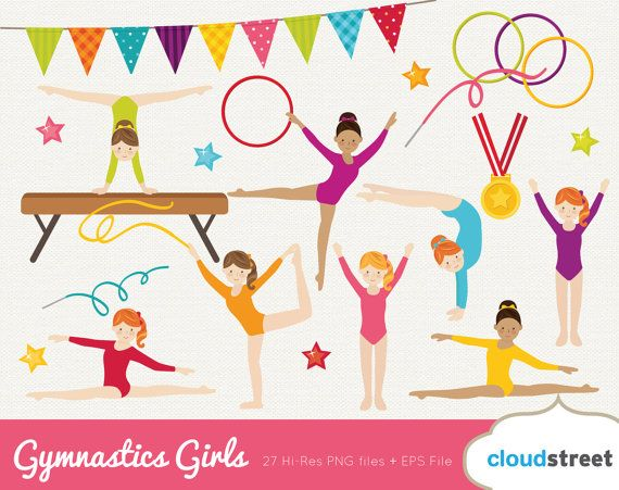 buy 2 get 1 free Gymanstics Girls clipart / gymnastic girl clip art / cute gymnast clipart / olympic gym clip art / commercial use ok