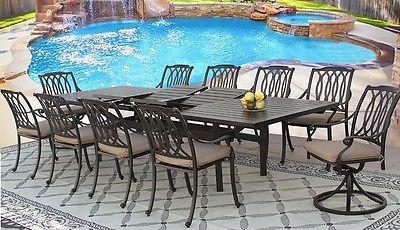 SAN MARCOS CAST ALUMINUM OUTDOOR PATIO 11PC DINING SET 44X130 RECT EXTEND TABLE