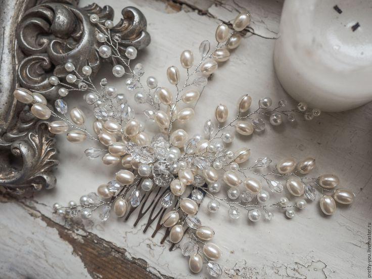 Купить Гребень свадебный жемчужный. Украшение свадебное для прически невесты - белый, айвори, гребень, жемчуг