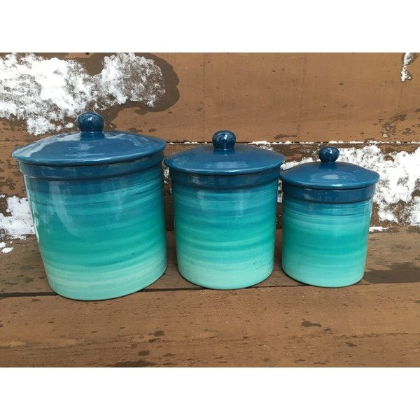 One Of A Kind Set Of 4 Teal Ombre Ceramic Canister Set With Rubber.