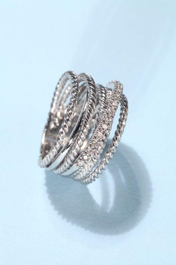 David Yurman Diamond, 14K White Gold & Sterling Silver Crossover Ring #graduationgift