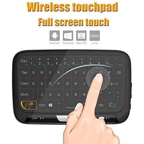 Tripsky H18 2.4GHz Wireless Whole Panel Touchpad and Mini Keyboard, Handheld Remote with Touchpad Mouse for for Android TV Box, Windows PC, HTPC, IPTV, Raspberry Pi, XBOX 360, PS3, PS4(Black)  Multi-function 2.4GHz wireless whole panel touchpad and mini QWERTY keyboard with USB interface dongle.  High-sensitive whole panel touchpad with mouse function including the mouse moving, left mouse button , right mouse button and mouse scroll wheel.  Plug-and-play design: USB dongle make it one...