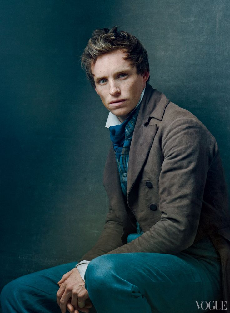 """Eddie Redmayne - photo by Annie Leibovitz    """"Marius was a romantic stereotype,"""" says Redmayne, whose character must balance love with revolutionary fervor. """"So we went back to the book and found all these moments that showed he was more than just a guy running down the street singing about his love."""""""