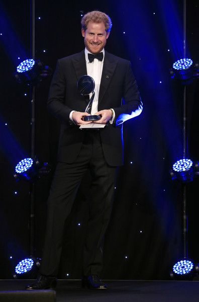 Prince Harry ahead of presenting the Outstanding Contribution to Sport award at the BT Sport Industry Awards 2016 at Battersea Evolution on April 28, 2016 in London, England. The BT Sport Industry Awards is the most prestigious commercial sports awards ceremony in Europe, where over 1750 of the industry's key decision-makers mix with high profile sporting celebrities for the most important networking occasion in the sport business calendar.