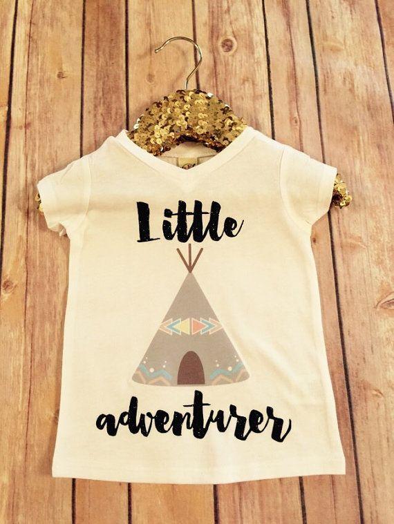 Little Adventurer Teepee Tee  Black Sparkle baby shower by SnowSew